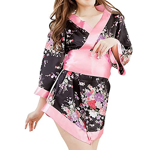 Japanese Kimono Role Play Lingerie Set 3/4 Sleeve Kimono Robe Mini Dress with OBI Belt Sexy Girl Geisha Cosplay Costume Outift (Black&Pink)