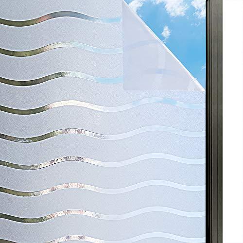 rabbitgoo Fensterfolie Streifen Selbstklebend Sichtschutzfolie Gestreifte Folie Für Privatsphäre Büro Wellen Muster 90 x 200 cm