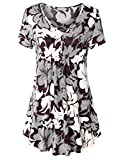BAISHENGGT Women's V Neck Buttons Pleated Flared Tunic Tops Red Floral XL