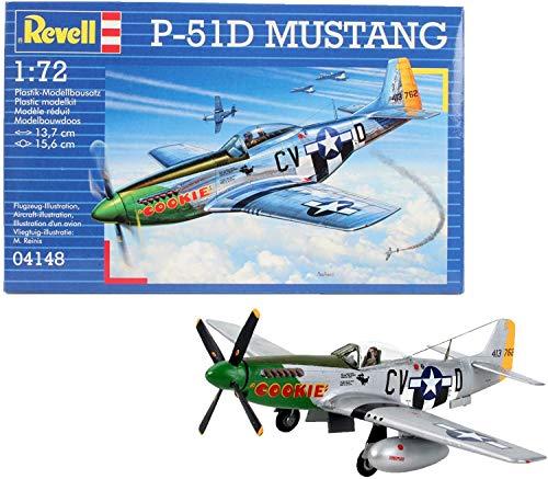Revell Modellbausatz Flugzeug 1:72 - P-51D Mustang im Maßstab 1:72, Level 3, originalgetreue Nachbildung mit vielen Details, 04148