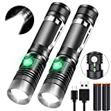 iToncs Rechargeable Flashlight, Pocket-Sized Torch with Super Bright 1200 Lumens T6 LED, Water Resistant, Zoomable, LED Tactical Flashlights with Clip, 4 Modes for Camping Hiking and Emergency(2 Pack)