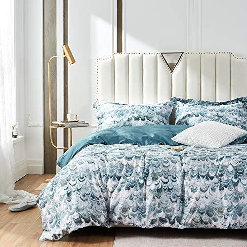 SOULFUL 100% Egyptian Cotton Duvet Cover Set Double - 3pcs Printed Bedding Set, Ultra Soft Floral Pattern Quilt Cover Set(200x200cm, Peacock)