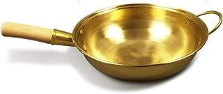 XXDTG Poêle En Cuivre Pur Pot En Cuivre Wok Chinois Poêle À Frire En Laiton Poêle À Frire Ustensiles De Cuisine Wok Cuisin...