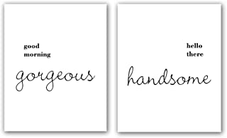 """HPNIUB Inspirational Print Hello There Handsome Good Morning Gorgeous Quote Art Painting Set of 2 (8""""X10"""" Canvas Motivational Typography Poster for Boys&Girls Or Couple Room Decor, No Frame"""