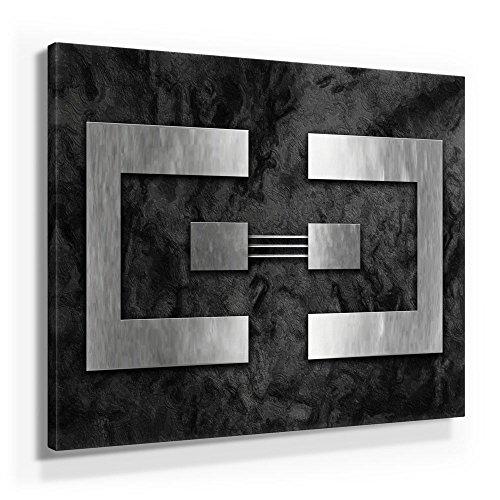 Jack DYRELL Silber AUF Granit - XXL Bild - Kunst - XXL 50x50cm, Leinwand auf Holzrahmen aufgespannt, UV-stabil und wasserfest, XXL Deko Bild abstrakt FineArtPrint Wandbild für Büro oder Wohnzimmer