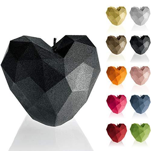 Candellana Kerze Heart Low Poly | Höhe: 8 cm | Schwarz Metallisch | Handgefertigt in der EU