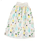 Magik Waterproof Cotton Training Pants Cloth Diaper Skirts Baby Toddler Night Time Sleeping Potty Training (Cactus, M for 0-4T)