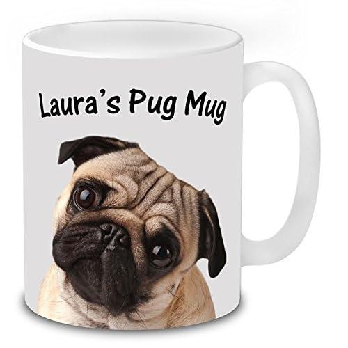 I Love Pug China Mug and or Coaster Mug Personalised with Name