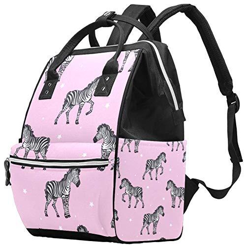 TIZORAX Naadloze Zebra met sterren luiertas Reizen Moeder Tassen Nappy Rugzak Grote Capaciteit voor Baby Zorg