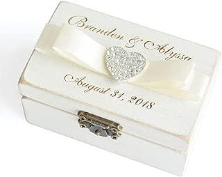 Custom Wedding Ring Box, Personalized Ring Bearer Box, Wooden Rings Holder, Wooden Box for Rings, Custom Name & Date