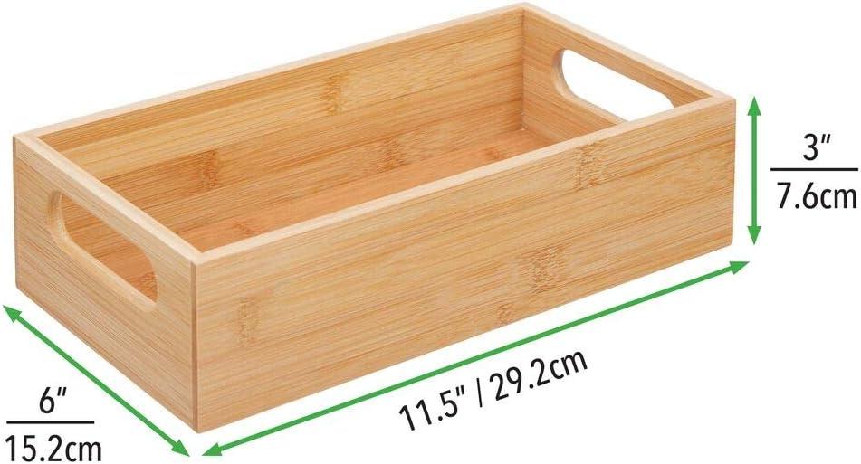 bo/îte en bambou /él/égante et ouverte pour le bureau couleur naturelle mDesign caisse de rangement avec poign/ées en lot de 2 bo/îte en bois pratique pour les fournitures de bureau