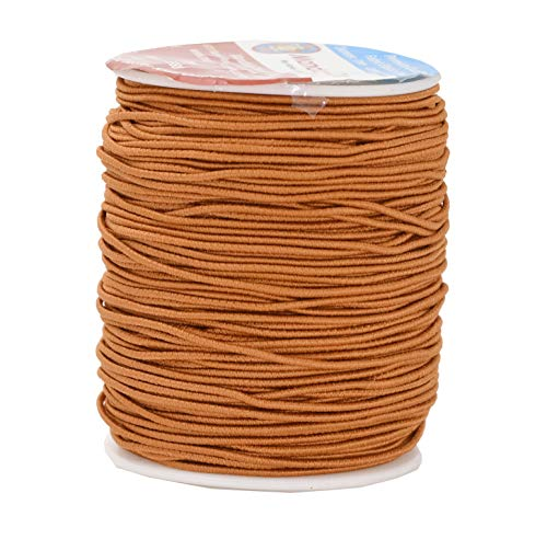 Mandala Crafts 1mm Elastic Cord Stretchy String for Bracelets, Necklaces, Jewelry Making, Beading, Masks; 109 Yards Light Brown