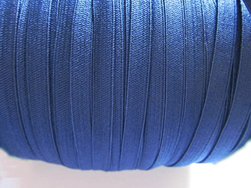 YYCRAFT 1/4' (6mm) Skinny Elastic Spandex Band for Kid Dress Hairband Hair Tie Headband Lace Trim Sewing Notion (Navy,20 Yards)
