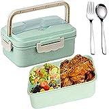 SunAurora Bento Box Lunch Box,Boîte à Repas Sûre et Étanche en Blé Naturel,1000 ML Boîte Bento et Couverts, pour Le Pique-Nique, L'école, Le Travail, Bureau (Vert)