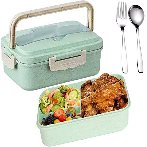 SunAurora Bento Boxen, Lunch Box, 1000ML Brotzeitbox Auslaufsicher, Mikrowellengeeignet und Spülmaschinenfeste Brotdose, mit Griff und Edelstahlbesteck (Grün)