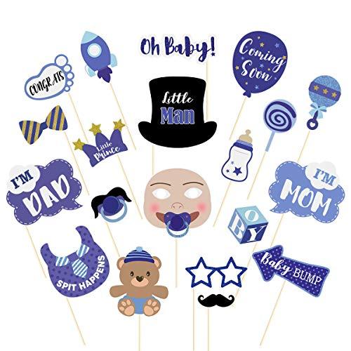 Amosfun 20PCS Junge Baby Shower Photo Booth Requisiten Kleiner Mann Baby Shower Dekorationen Liefert Babyflasche Maske Photo Booth Props