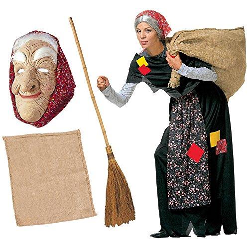 Zeus Party Kit Costume da BEFANA per Adulti Completo + Scopa + Sacco + Maschera Vestito Epifania (Costume + Scopa + Sacco + Maschera)