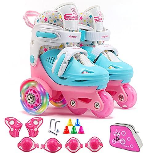 Rollschuhe Kinder Mädchen Verstellbar Skates mit LED leuchtendem Rad Roller Skates Bequem und atmungsaktiv Quad Roll Schuhe für Jungen Anfänger Drinnen und draußen, Rose