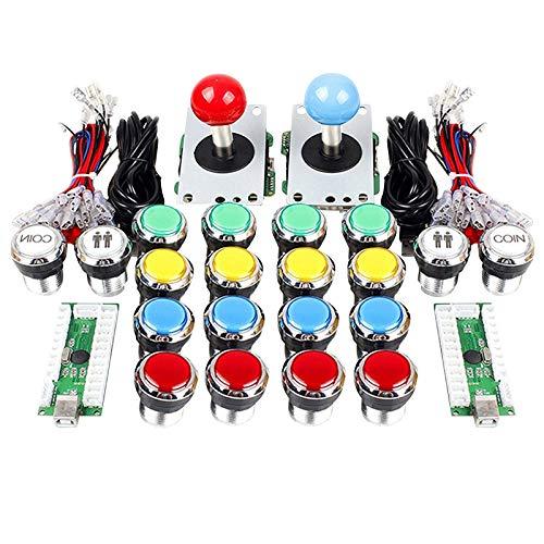 Nrpfell Arcade DIY Kit Parts 2 Jugadores Codificador USB para Juegos de PC Joystick + Botones Iluminados para Juegos de Lucha Mame KOF SNK
