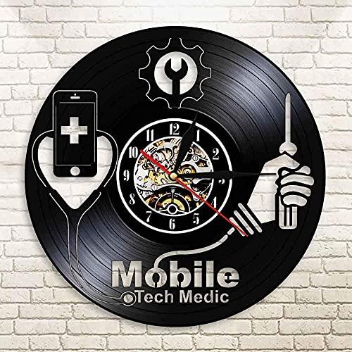 TJIAXU Equipo de teléfono móvil Hospital Tienda de reparación de teléfonos móviles Arte de la Pared teléfono móvil Reloj de Pared Arte Disco de Vinilo Reloj de Pared