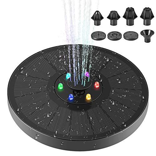 Solar Springbrunnen mit 6 LED CrazyFire Solar Teichpumpe Outdoor Wasserpumpe mit 3W Monokristalline Solar Panel Brunnen mit 7 Fontänenstile für Garten, Vogel-Bad,Teich,Fisch-Behälter