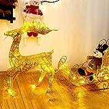 Navidad Navidad Light Decoration Resplandecer LED Luminoso Reno con Trineo Blanco Cálido Planchar Marco para Interiores y Exteriores 28x50cm,Oro Luz al Aire Libre