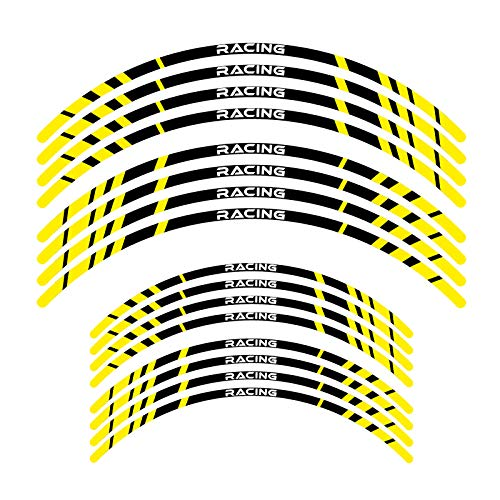 KETABAO Dirt Bike Rim Tape P02 Decals Stickers Protector 21 19 inch For Yamaha YZ250F 01-21 YZ450F 18 19 20 21 (Yellow)