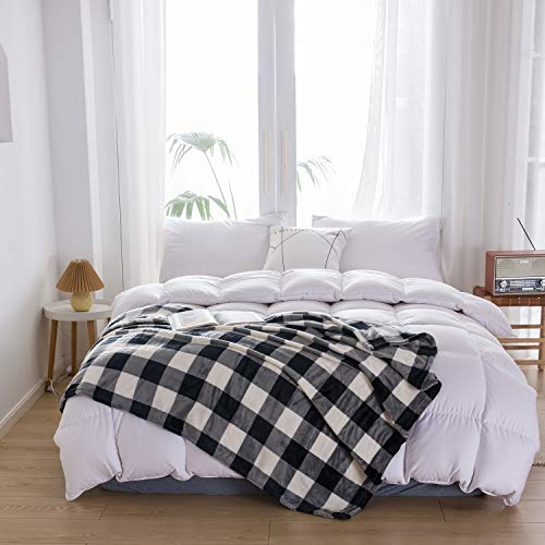 """NEWCOSPLAY Buffalo Plaid Throw Blanket Soft Flannel Fleece Checker Pattern Lightweight Decorative Blanket for Bed Couch (280GSM-Black-White, Twin(60""""x80""""))"""