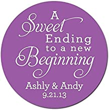 Personalized Customized Wedding Favor Stickers - Sweet Ending to a New Beginning - Choose Your Size