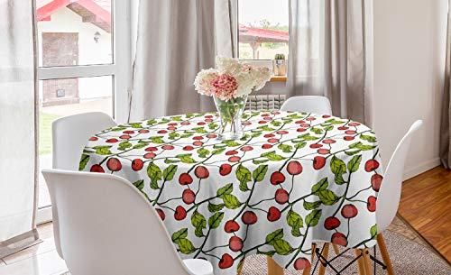 ABAKUHAUS Cerise Nappe Ronde, Feuillu Branche Fruit Cartoon, Nappe en Cercle pour Salle à Manger ou Cuisine, 150 cm, Corail Vert Pomme Blanc