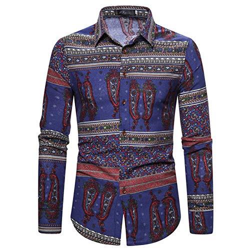 Camisa de Talla Grande Ajustada a la Moda para Hombre Camisa de Manga Larga Informal con Estampado de Estilo étnico con Solapa Retro de Moda de Verano M