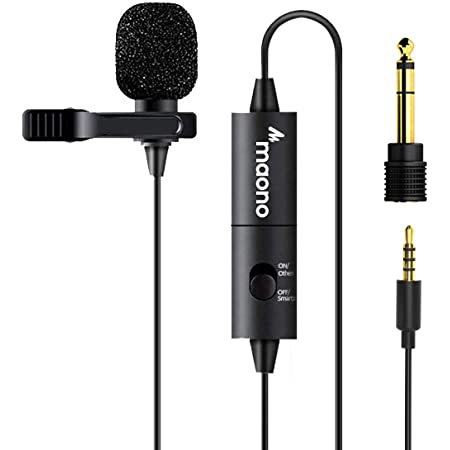 Lavalier Microphone, MAONO AU-100 Hands Free Clip-on Lapel Mic with Omnidirectional Condenser for Podcasting, Recording, DSLR, Camera, Smartphone, PC, Laptop (236in)