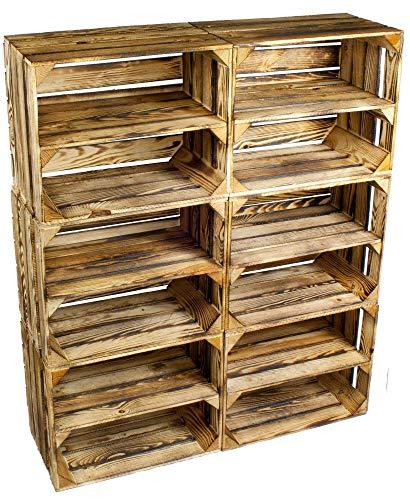Kistenbaron 6er Set Schuhregal Bücherregal Weinkiste Obstkiste als Regal - Geflammt - Holzkiste Dekokiste (50 x 40 x 30 cm)