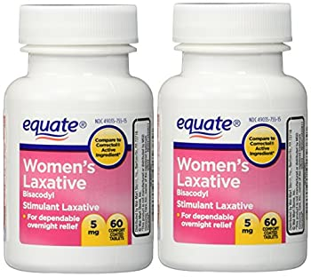 Women s Laxative Tablets Bisacodyl 5mg 120ct  Two 60ct bottles  by Equate Compare to Correctol