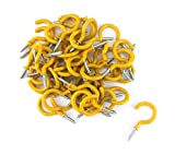 yueton 50pcs Vinyl Coated Screw-in Ceiling Hooks Cup Hooks (Yellow)