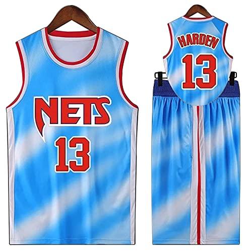 QGF Basketball Jersey Suit, Brooklyn Nets 13# Teens New Swingman Jerseys, Equipo De Ropa De Entrenamiento De Baloncesto para Hombres Blue-XXXXXL