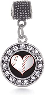 Inspired Silver - Silver Circle Charm for Bracelet with Cubic Zirconia Jewelry