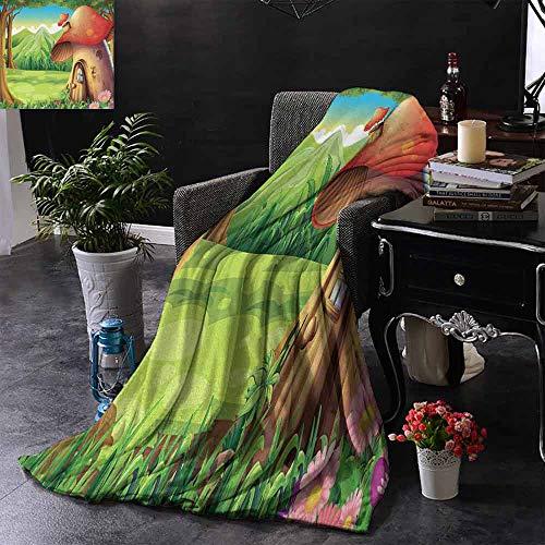 GGACEN bank deken bos van paddestoelen paddestoelen schimmels Wildlife in bos Cartoon Illustratie planten Gezellige en duurzame Fabric-Machine wasbaar