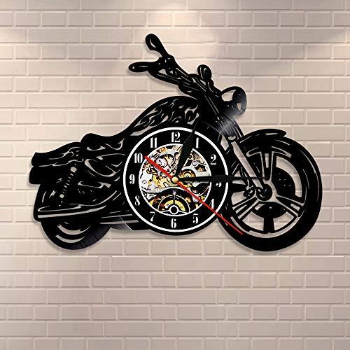 suhang Klassieke motorfiets muurklok monteur motorfiets auto wandklok motorrijder man hol geschenk Met led.