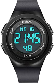 DIRAY Kids 50M Waterproof Digital Boy's Watch wiht LED Alarm and Multifunction, Outdoor Sport Durable and Friendly Watch Designed Backlight and Easy to Read Time for Boys as Gift.