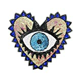 1 Pcs Love Large Sequin Heart Evil Eyes Patches No Glue Cartoon Motif Applique Embroidery Garment Patch Sewing on for Clothes Kids T Shirt Jeans DIY Crafts (Color 2)