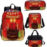 Mochila de 48 cumpleaños de 15 pulgadas con bolsa de almuerzo, juego de estuche, regalo para tartas velas 4 en 1