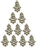 Amulett-Anhänger, Hamsa-Herz, goldfarben, 10 Stück