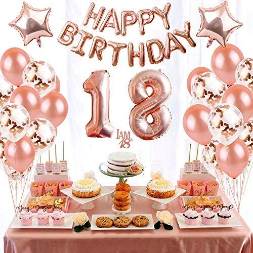 Crazy-M Geburtstag Deko Set Nummer 18 Luftballon Rosegold Mädchen, Geburtstag Party Deko -2 Zahl 18 Aufblasbar Helium Folienballon+13 Happy Birthday Folienballon+ 20 Ballons+ 2 Stern Ballon