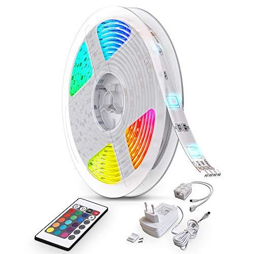 B.K.Licht LED Strip 10m, LED Stripes, Lichterkette, Band, Streifen, LED Leiste, LED Lichtleiste, LED Bänder, Lichterkette LED, weiß, bunt, inkl. Fernbedienung, inkl. Farbwechsel, selbstklebend