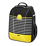 Herlitz Schulrucksack airgo Rucksack, 43 cm, Smiley Black & Yellow Stripes