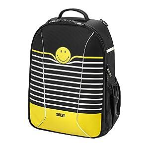 518CqHvtcnL. SS300  - Herlitz Smiley B&Y Stripes mochila Nylon Negro, Blanco, Amarillo - Mochila para portátiles y netbooks (Nylon, Negro…