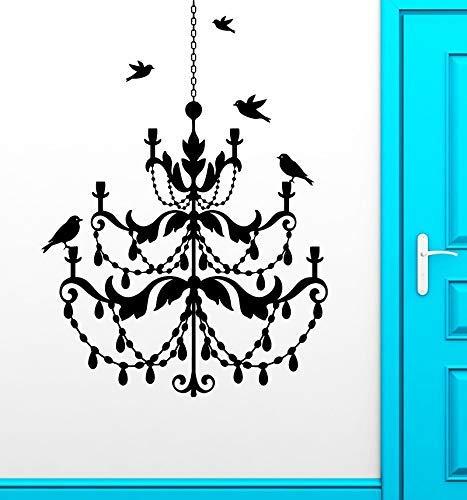 Bloem Kroonluchter Vogel Retro Vinyl Muursticker Plafond lamp Stijl Slaapkamer Woonkamer Home Decor Art Mural Wallpaper 57x80cm