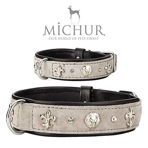 MICHUR Leon Hundehalsband Leder, Lederhalsband Hund, Halsband, Grau-Schwarz, Leder, mit Lilien,Strasssteinen und Löwenkopfapplikation, in verschiedenen Größen erhältlich