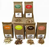 Jax Smokin Tinder - FINE Wood Chips Sampler Pack for STOVETOP Smokers, 6 of Our Popular Chips in One-Pint Paper Bags (Apple/Post Oak/Mesquite/Orange/Peach/Pecan)